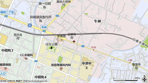 大分県中津市牛神336周辺の地図