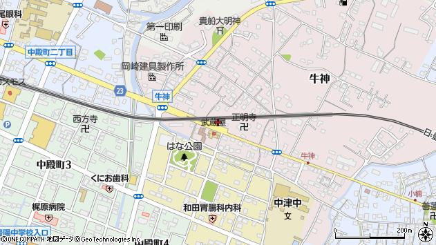 大分県中津市牛神421周辺の地図
