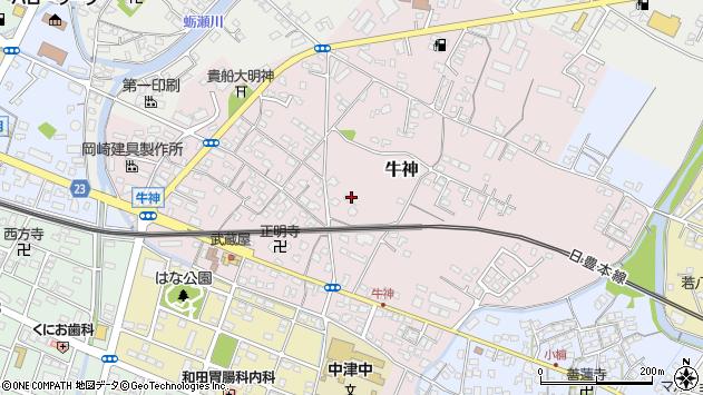 大分県中津市牛神244周辺の地図