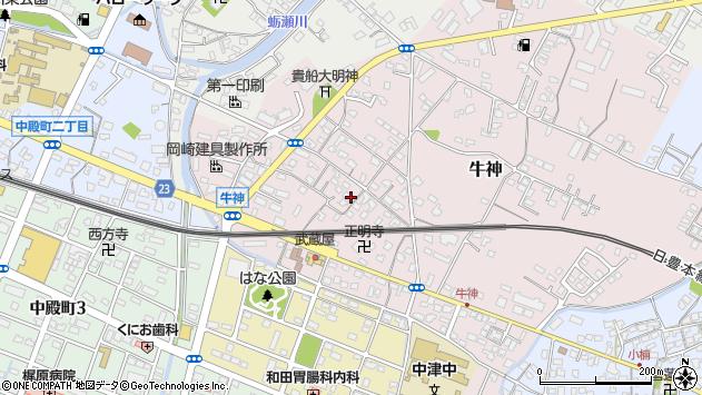 大分県中津市牛神296周辺の地図