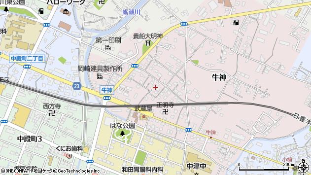 大分県中津市牛神297周辺の地図