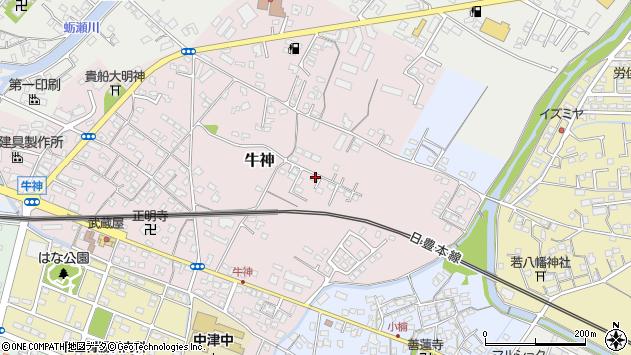 大分県中津市牛神192周辺の地図
