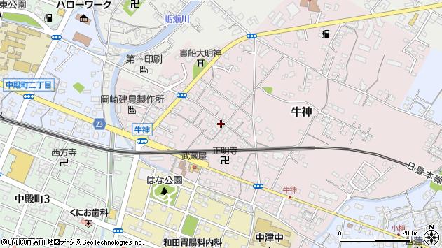 大分県中津市牛神300周辺の地図