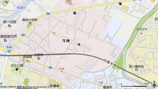 大分県中津市牛神198周辺の地図