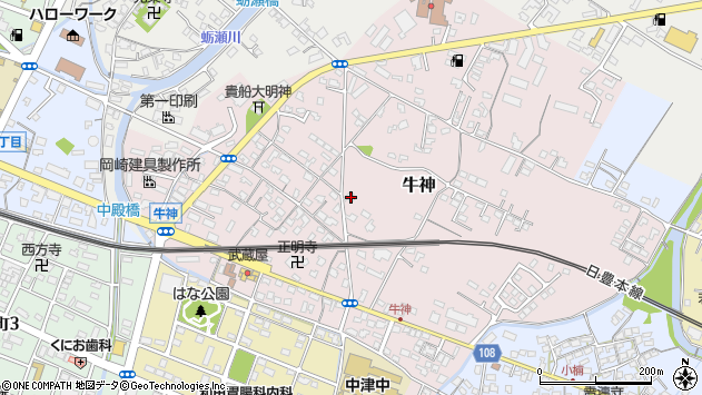 大分県中津市牛神250周辺の地図