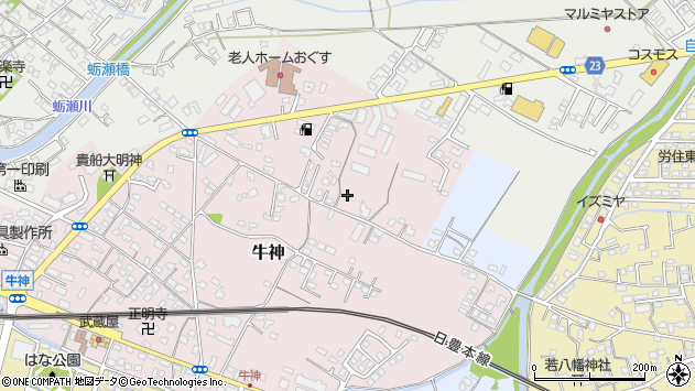 大分県中津市牛神70周辺の地図