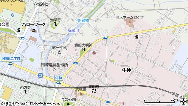 大分県中津市牛神387周辺の地図
