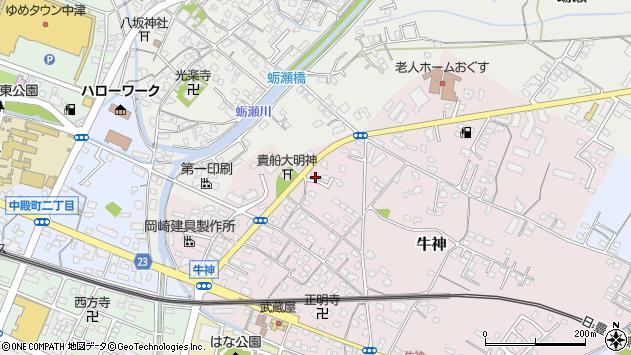 大分県中津市牛神107周辺の地図