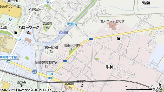 大分県中津市牛神103周辺の地図