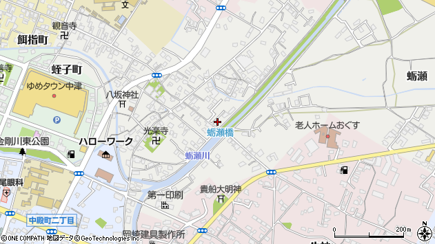 大分県中津市蛎瀬662周辺の地図