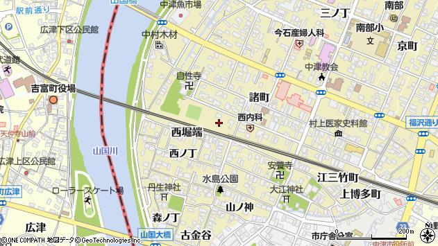 大分県中津市新魚町周辺の地図