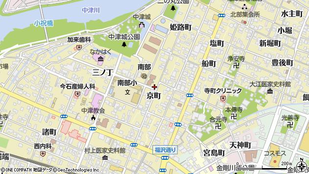 大分県中津市京町周辺の地図