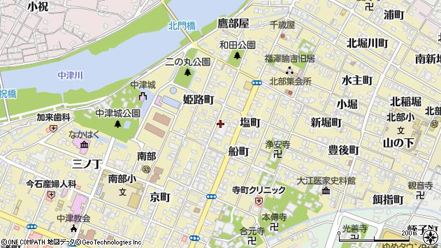 大分県中津市米町周辺の地図