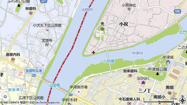 大分県中津市小祝上方町周辺の地図