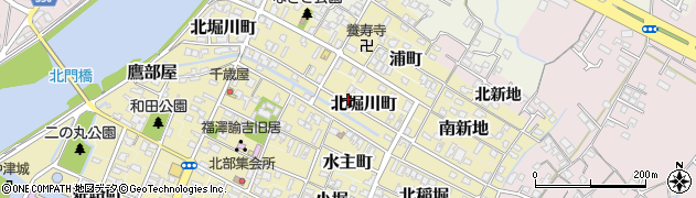 大分県中津市北堀川町周辺の地図