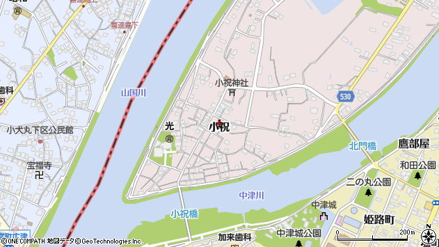 大分県中津市小祝316周辺の地図
