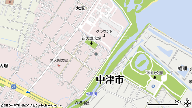大分県中津市大塚670周辺の地図