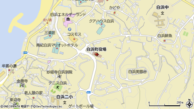 和歌山県西牟婁郡白浜町周辺の地図