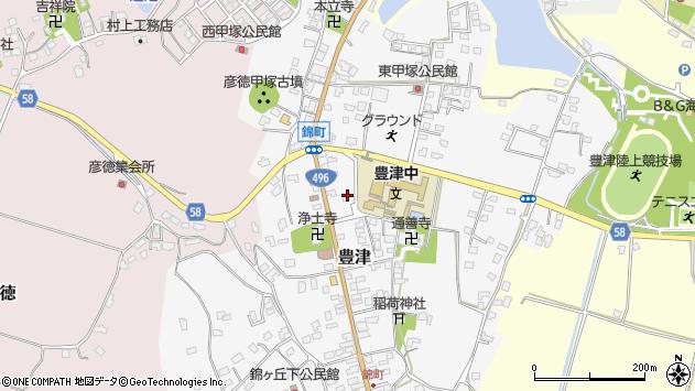福岡県京都郡みやこ町豊津周辺の地図
