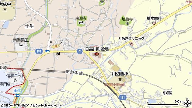 和歌山県日高郡日高川町周辺の地図