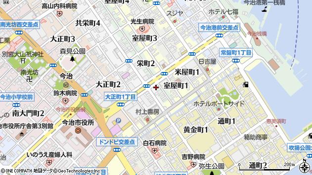 愛媛県今治市栄町周辺の地図