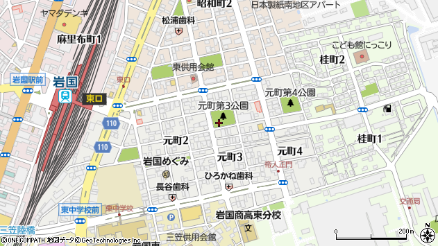 山口県岩国市元町周辺の地図