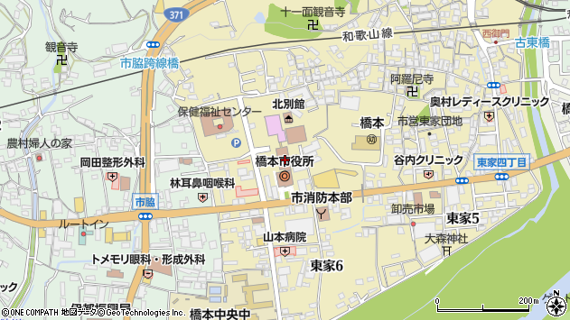和歌山県橋本市周辺の地図