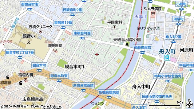 広島県広島市西区東観音町周辺の地図