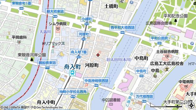 広島県広島市中区河原町周辺の地図
