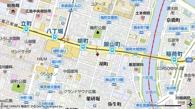 広島県広島市中区胡町周辺の地図