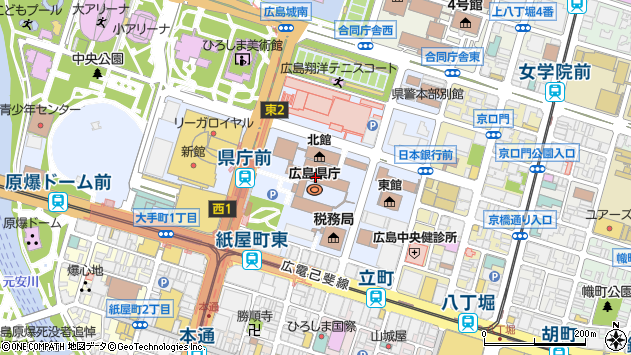 広島県広島市中区基町10-52周辺の地図