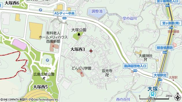 広島県広島市安佐南区大塚西3丁目周辺の地図
