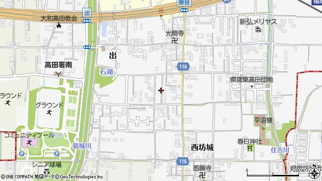 奈良県大和高田市西坊城周辺の地図