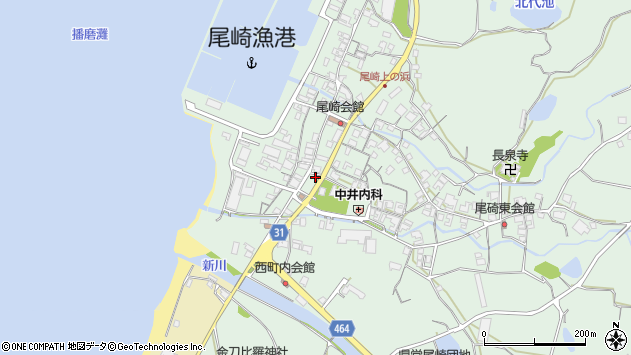 兵庫県淡路市尾崎周辺の地図