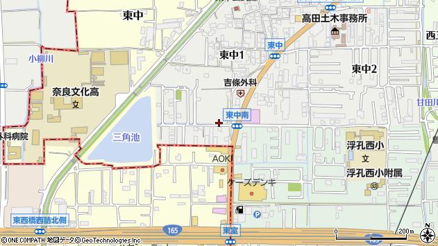 奈良県大和高田市東中1丁目周辺の地図