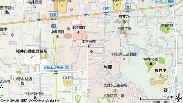 奈良県桜井市阿部周辺の地図