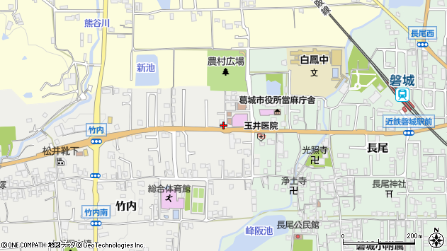 奈良県葛城市竹内周辺の地図