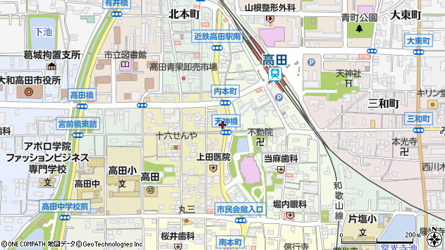 奈良県大和高田市内本町6-7周辺の地図
