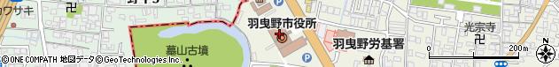 大阪府羽曳野市周辺の地図