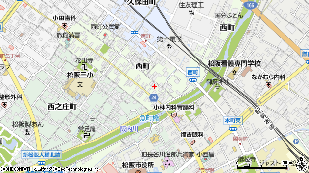 三重県松阪市西町周辺の地図