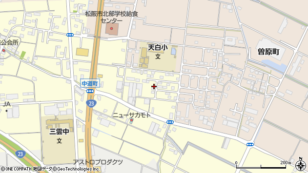三重県松阪市中道町周辺の地図