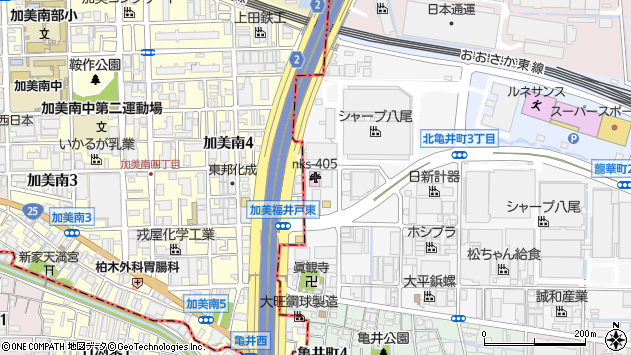 大阪府八尾市北亀井町3丁目2-37 住所一覧から地図を検索