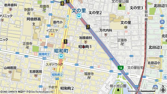大阪府大阪市阿倍野区昭和町周辺の地図