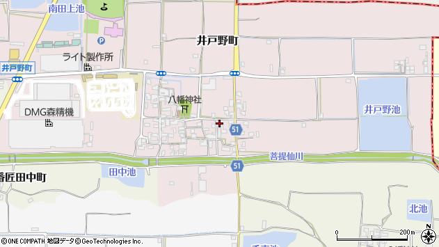 奈良県大和郡山市井戸野町周辺の地図