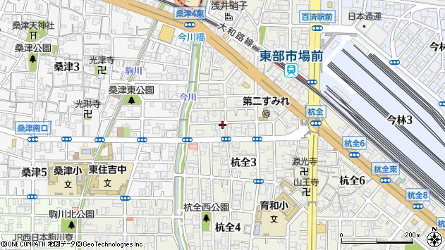 大阪府大阪市東住吉区杭全周辺の地図