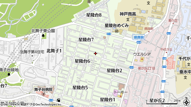 兵庫県神戸市垂水区星陵台周辺の地図