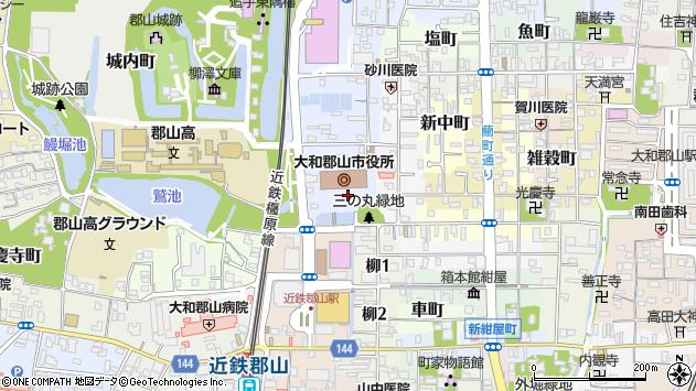 奈良県大和郡山市周辺の地図