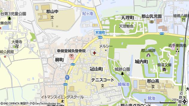 奈良県大和郡山市冠山町周辺の地図