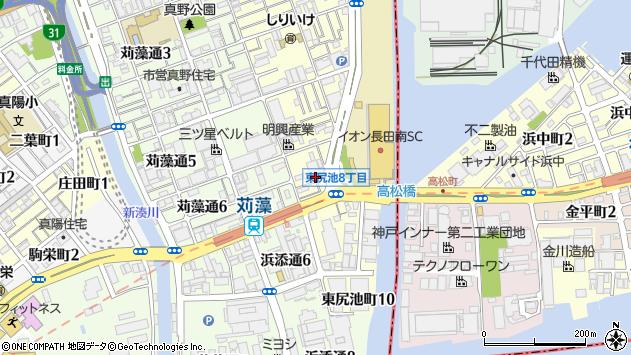 兵庫県神戸市長田区東尻池町8丁目2-14周辺の地図