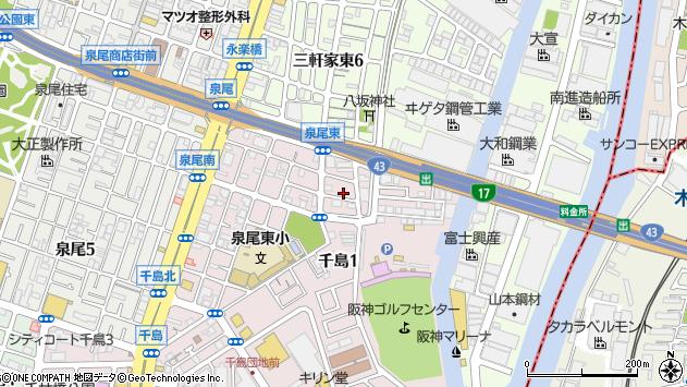 大阪府大阪市大正区千島1丁目周辺の地図